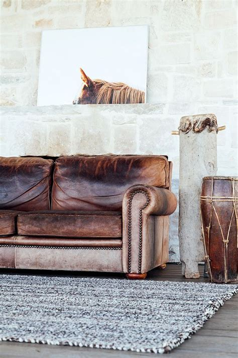 horse sofa distressed leather couch horse print and living rooms on
