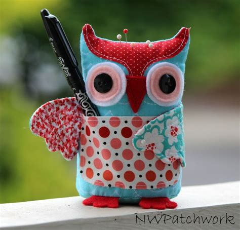 Patchwork Owl Cushion Pattern - pincushion tutorials patchwork pin cushions and owl