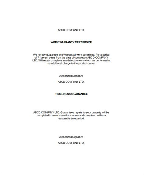 Guarantee Letter Construction Warranty Certificate Template 9 Free Word Pdf