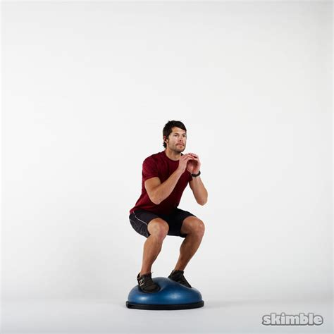 Chair Gym Exercises Bosu Squats Exercise How To Workout Trainer By Skimble