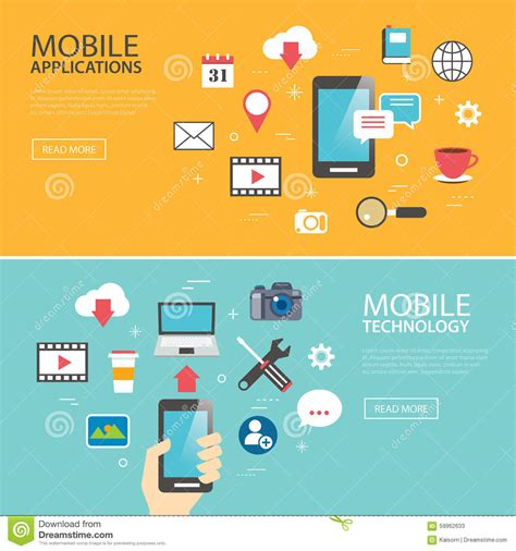 Mobile Application Technology Banner Template Flat Design Stock Vector Image 59962633 Technology Banner Template