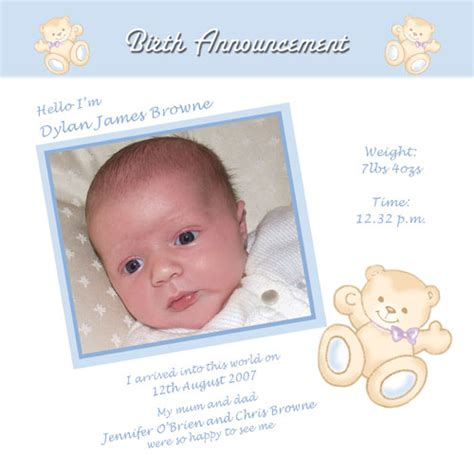 Toddler Cards - baby card a4b boy birth announcement buy personalised