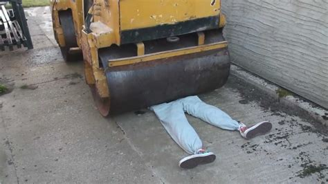 man crushed by steamroller in brutal accident youtube