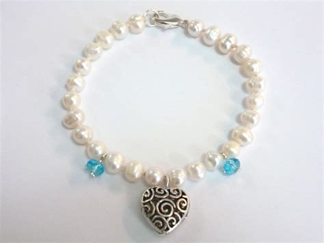 Import Gagang Pearl Silver white pearl with silver and blue bracelet
