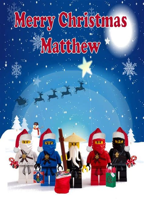 printable lego christmas cards personalised ninjago christmas card