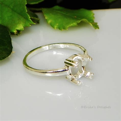 8x6 Oval Claw Prong Sterling Silver Pre Notched Ring Setting