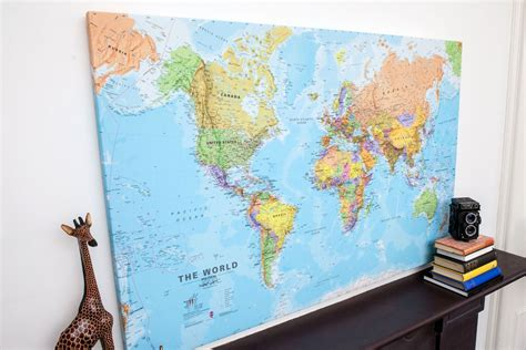 large wall map large world wall map political canvas