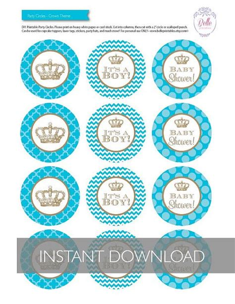 free printable crown cupcake toppers cupcake toppers baby shower crown theme diy by