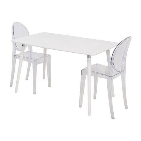 80 white dining table set with two ghost chairs