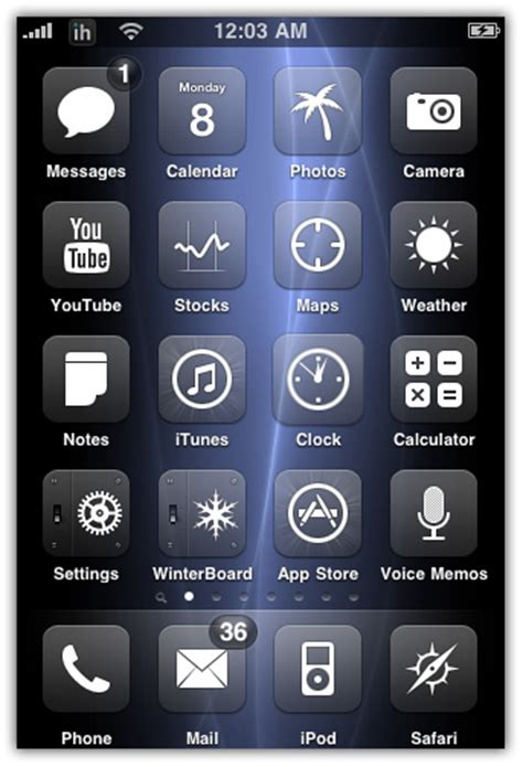 iphone themes without winterboard glasklart winterboard theme for iphone iphoneheat