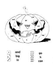 roll a jack o lantern printable english worksheets roll a sight word jack o lantern