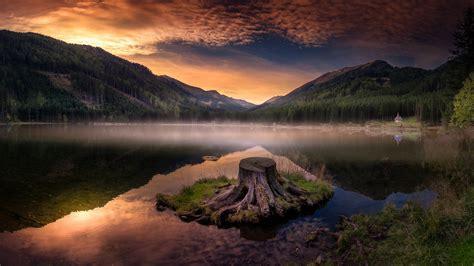 wallpaper mountains lake water reflection stump dusk