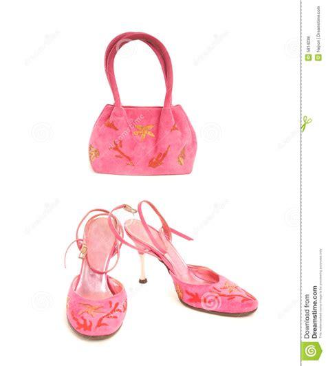 shoes with pink handbag royalty free stock photos