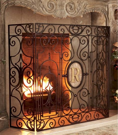 Monogrammed Fireplace Screen by Monogrammed Chateau Screen