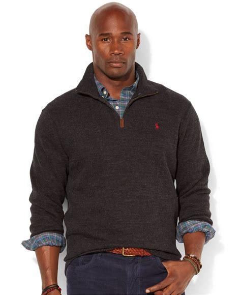 Jaket Sweater Jipper Maroon Rib Black lyst polo ralph big and half zip rib sweater in black for