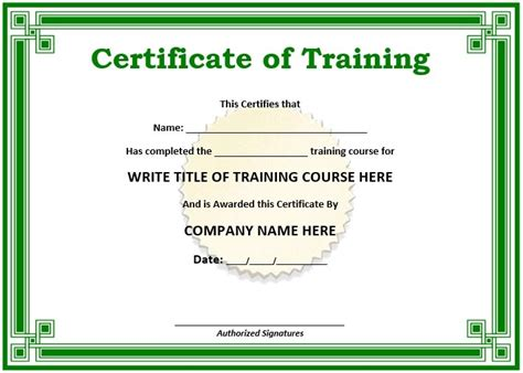 Trainer Certificate Template 11 Free Sle Training Certificate Templates Printable Sles