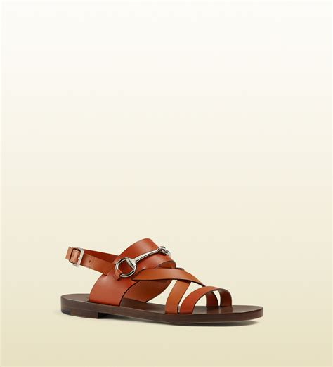 gucci sandals gucci leather horsebit sandals in orange for lyst