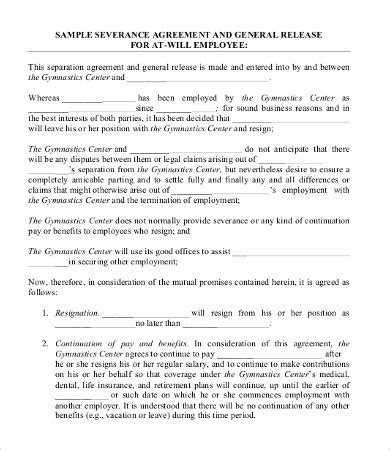 severance agreement template severance agreement templates 8 free word pdf documents