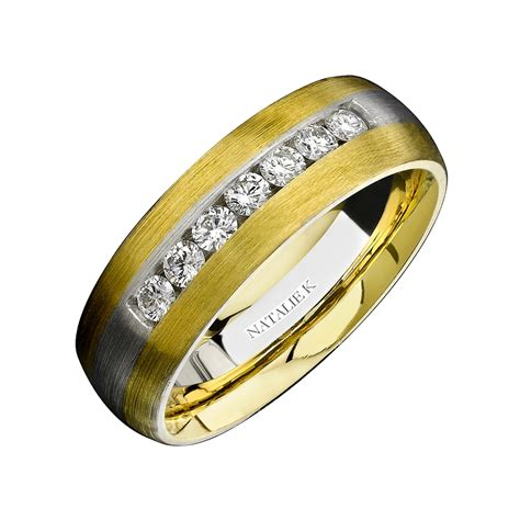natalie k s 18k two tone gold wedding band ring