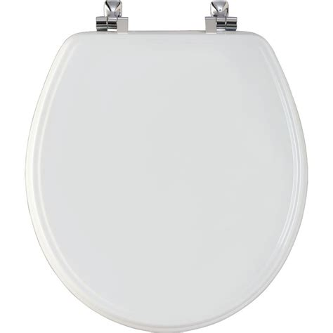 bemis wood toilet seat with chrome hinge and sta
