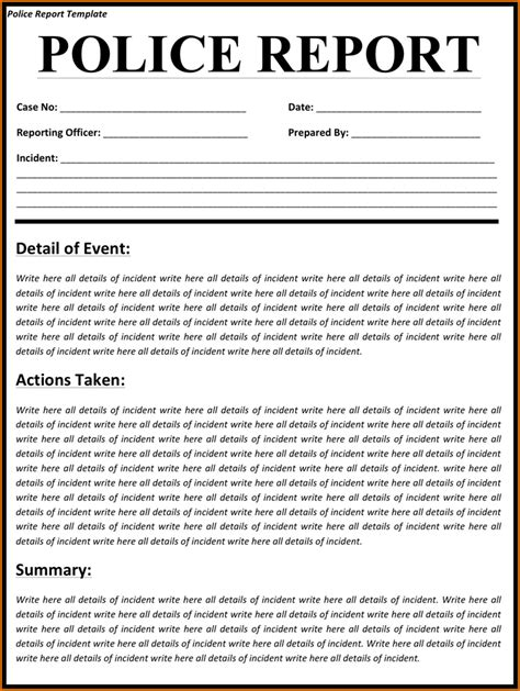 Layout Of A Police Report | 4 police report template authorizationletters org
