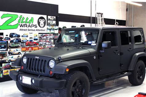 matte jeep matte black jeep wrap fort worth zilla wraps
