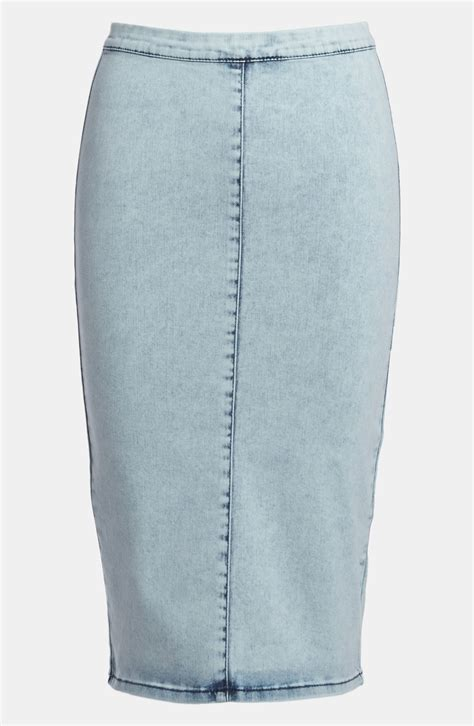 topshop joni acid wash denim pencil skirt in blue light
