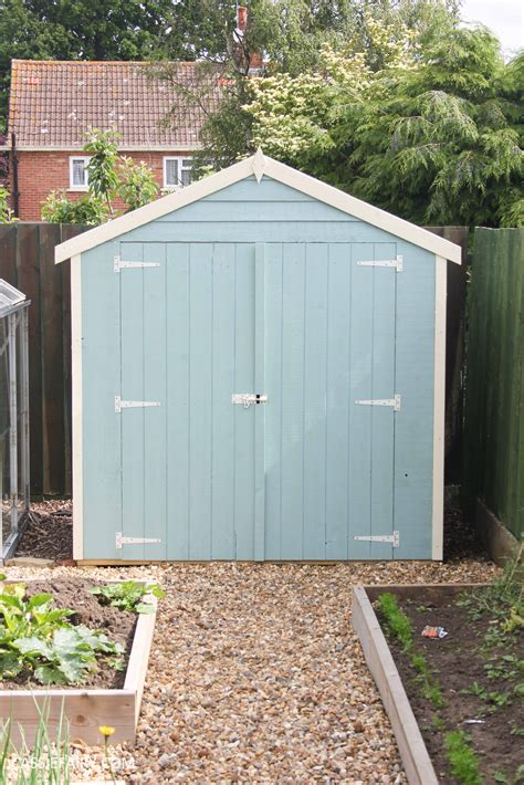 diy painting  installing small shed duck egg blue