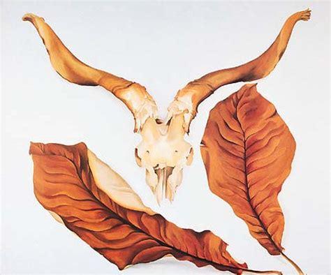 rams skull  brown leaves  georgia okeeffe