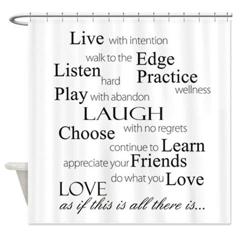 Shower Curtains With Quotes Shower Curtain Quotes Live With Intention By Folkandfunky