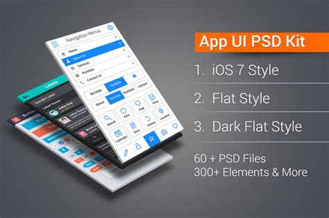 app design kit app ui kit pro ios flat dark flat 300 elements in 60 psds