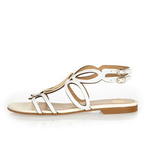 island sandals lyst river island white leather circle sandals in white