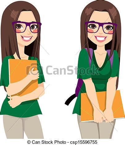 Japanese Style Home Plans clipart vector of cute nerdy girl student cute teenage