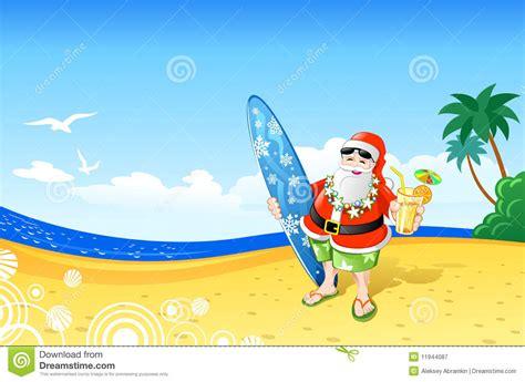 imagenes de santa claus en la playa la navidad santa en la playa ilustraci 243 n del vector