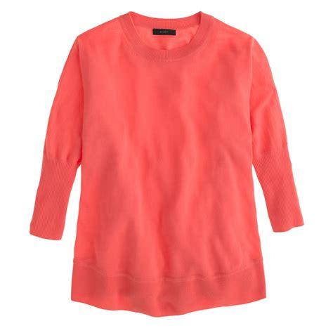 swing sweaters j crew merino swing sweater in pink neon flamingo lyst