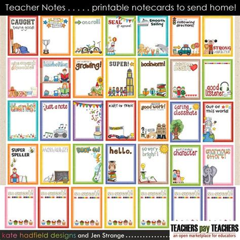 printable student postcards teacher notes 30 printable notecards to send home home