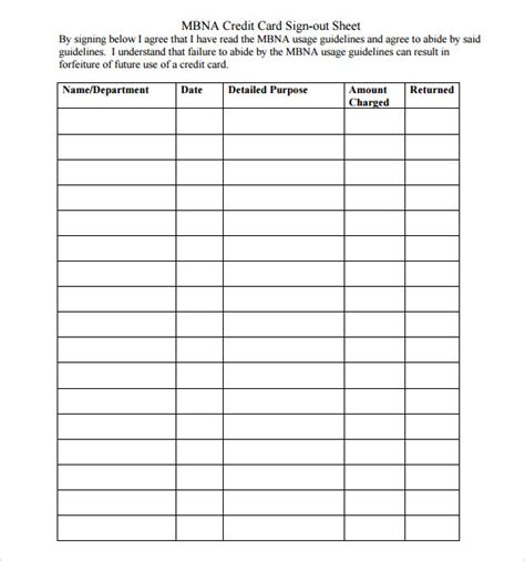 credit card log template 13 sign out sheet templates pdf word excel sle