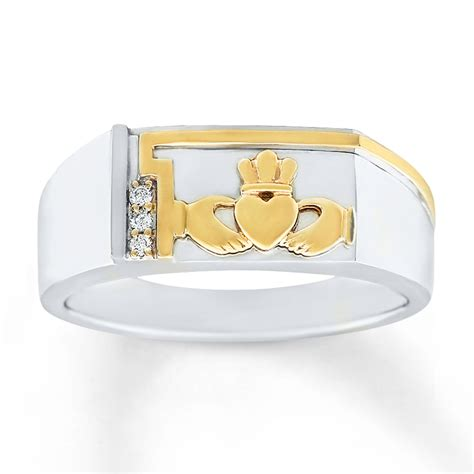 s claddagh ring accents 10k two tone gold