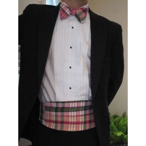 preppy plaid madras bow tie and cummerbund set