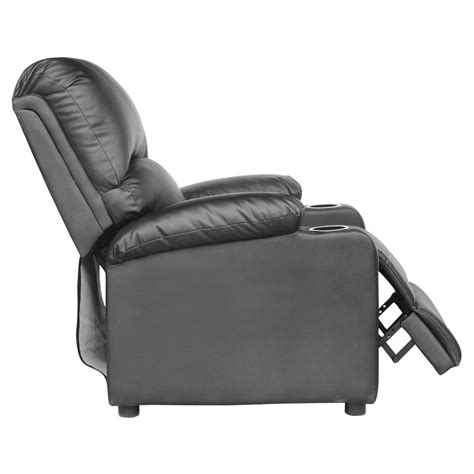 recliner chairs with drink holders kino real black leather recliner w drink holders armchair