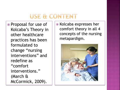 comfort theory of nursing ppt katherine kolcaba theory of comfort powerpoint