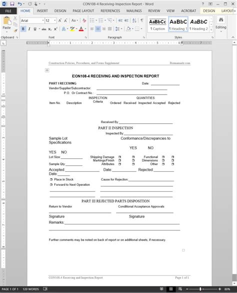 Receiving Report Template Project Receiving Inspection Report Template