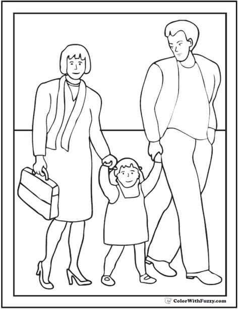 family day coloring page fall mother and daughter cleaning up leaves colouring page