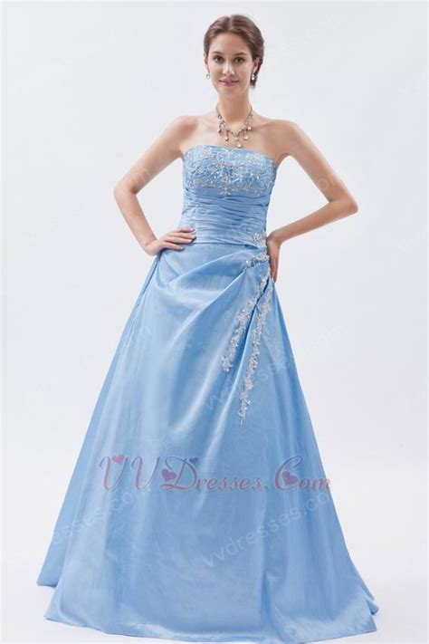 blue puffy prom dress strapless embroidery baby blue puffy prom dress with appliques