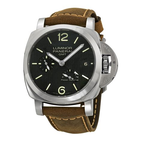 panerai luminor 1950 power reserve automatic black brown leather s pam00537