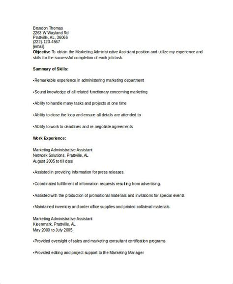 Administrative Assistant Marketing Resume Marketing Resume Sles For Successful Hunters
