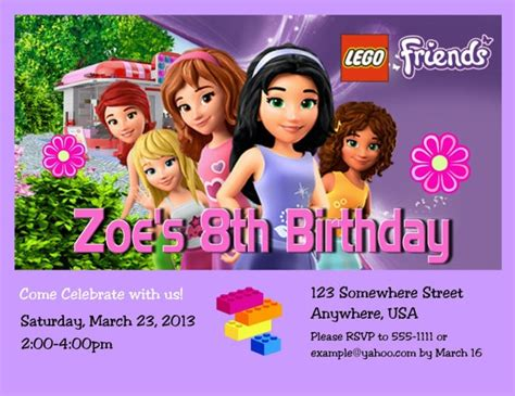 lego friends card template lego friends birthday invitation with free by