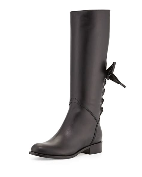 black riding lyst valentino ascot ribbon lace up riding boot in black