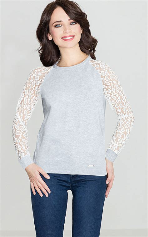 Blouse Lace Grey grey blouse with ecru lace sleeve silkfred