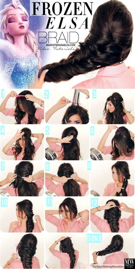 steps for long braids to be put in a bun diy disney frozen elsa s braid hairstyle elsa hair